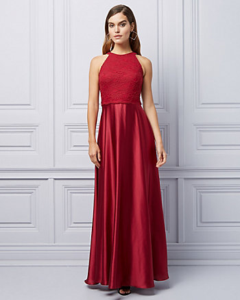Lace & Satin Halter Neck High-Low Gown
