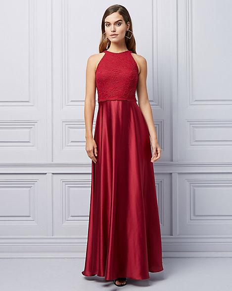 Lace & Satin Halter Neck Gown | LE CHÂTEAU