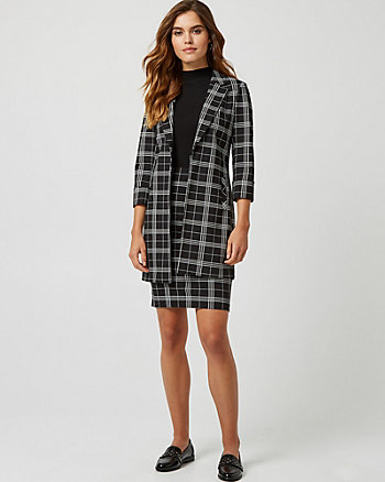 Check Print Ponte Notch Collar Blazer
