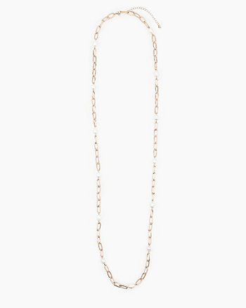 Pearl Embellished Chain Necklace
