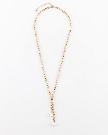 Pearl-Like Embellished Y-Necklace