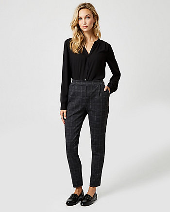 Pull On Check Print Ponte Knit Slim Pant