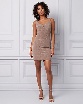 Sparkle Knit Pleated Mini Dress