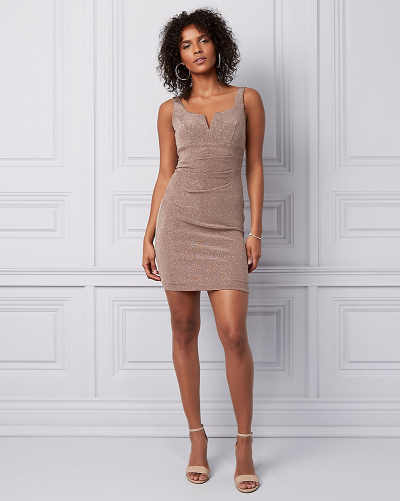 3b93fd0fbaf Sparkle Knit Pleated Mini Dress