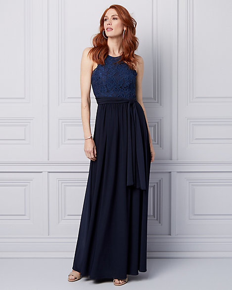 Lace & Knit Halter Gown | LE CHÂTEAU