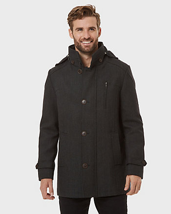 Wool Blend Hooded Car Coat