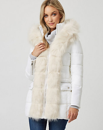 Hooded Puffer Coat with Faux Fur Trim