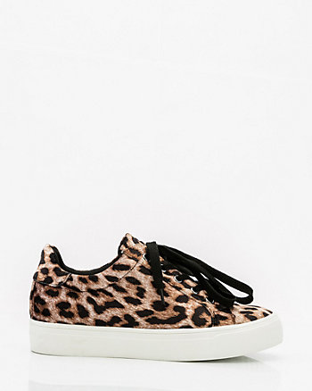 Leopard Print Velvet Lace-Up Sneaker