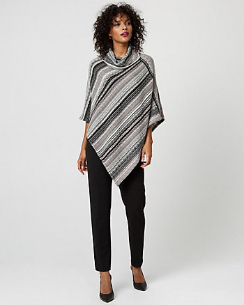 Stripe Textured Knit Asymmetrical Poncho