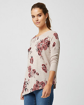 Floral Cotton Blend Asymmetrical Sweater