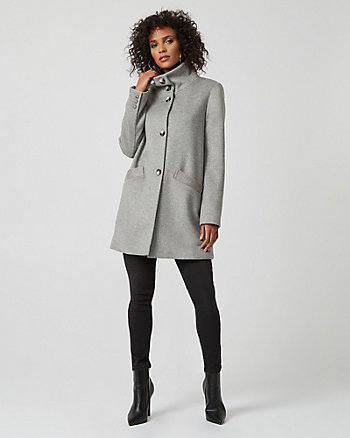 Wool Blend Funnel Neck Cocoon Coat