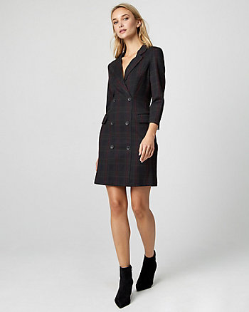 Check Print Ponte Knit Blazer Dress