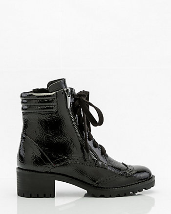 Patent Lace-Up Combat Boot