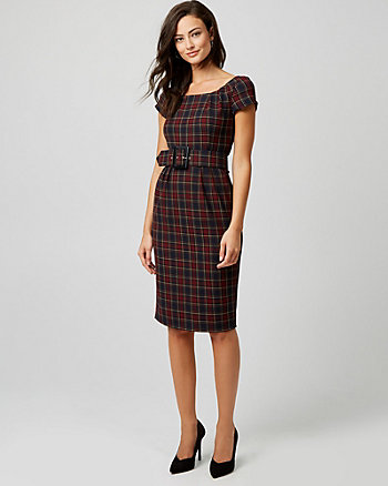 Check Print Boat Neck Sheath Dress