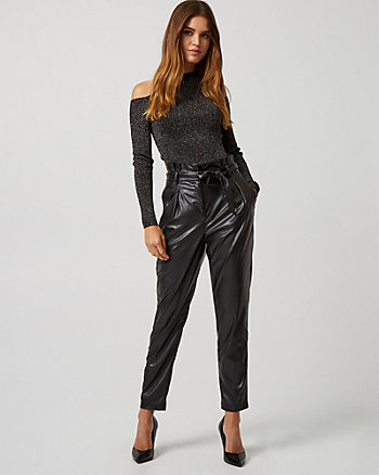 Leather-Like Paper Bag Pant