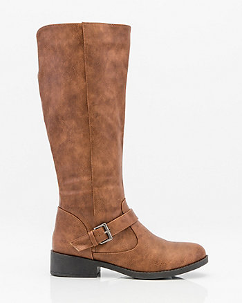 Round Toe Flat Knee High Buckle Boot
