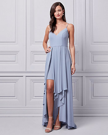Crêpe de Chine High-Low Gown