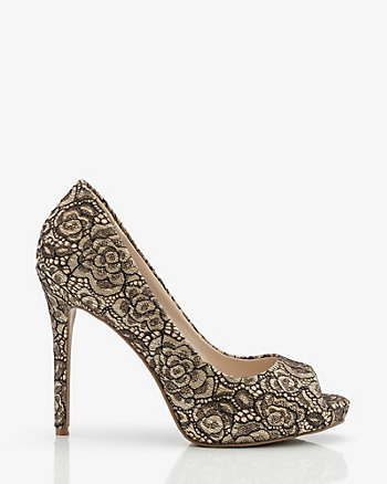 Lace & Glitter Peep Toe Pump