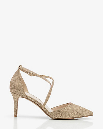 Glitter Pointy Toe Criss-Cross Pump
