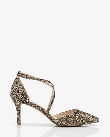 Lace & Glitter Pointy Criss-Cross Heel