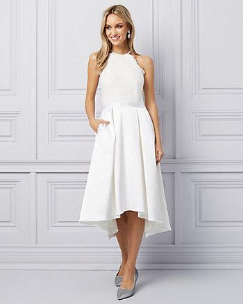 Satin & Lace Fit & Flare Halter Dress