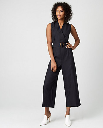 Stripe Cotton Blend Culotte Jumpsuit