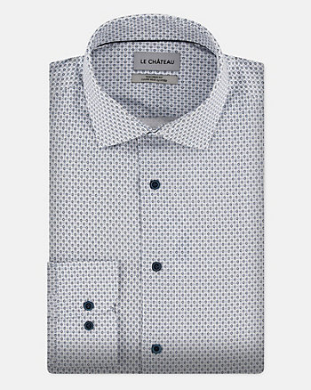 Geo Print Cotton Poplin Tailored Shirt