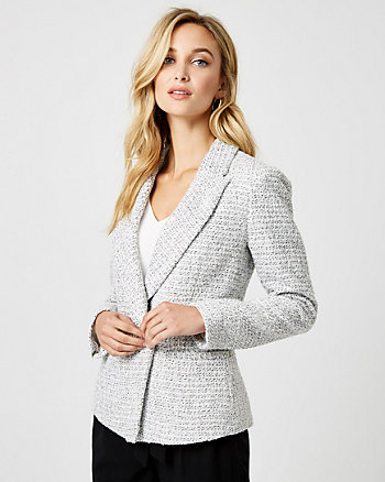 Bouclé Peak Lapel Double Breasted Blazer