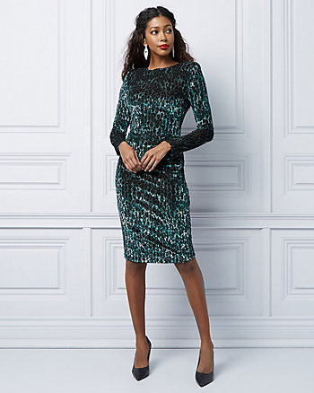 Leopard Print Knit Padded Shoulder Dress