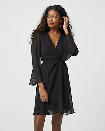 Swiss Dot Print Crêpe de Chine V-Neck Flowy Dress
