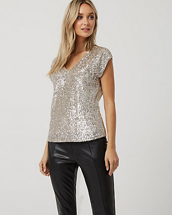 Sequin & Mesh V-Neck Top