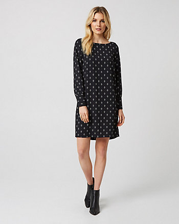 Medallion Print Crêpe Tunic Dress