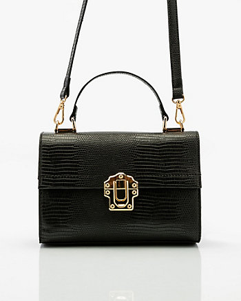Croco Embossed Crossbody Satchel