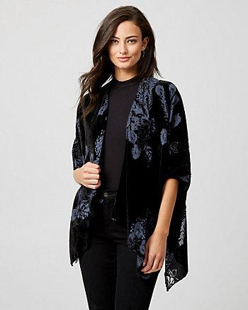 Floral Print Burnout Kimono