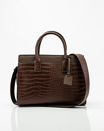 Croco Embossed Leather-Like Satchel