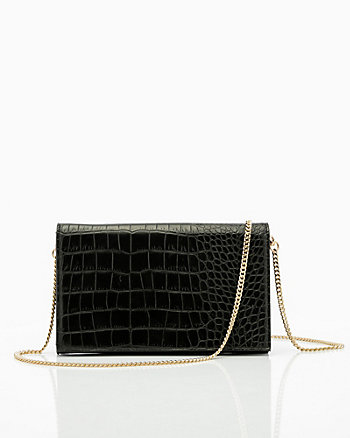Croco Embossed Faux Leather Flapover Clutch