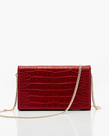 Croco Embossed Leather-Like Flapover Clutch