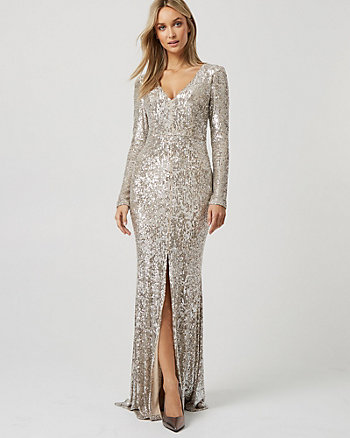 Sequin & Mesh V-Neck Slit Gown