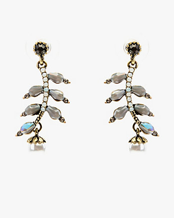 Pearl Embellished Leaf Drop Earrings