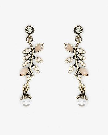Pearl Embellished Leaf Drop Earrings