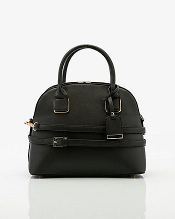 Saffiano Faux Leather Satchel