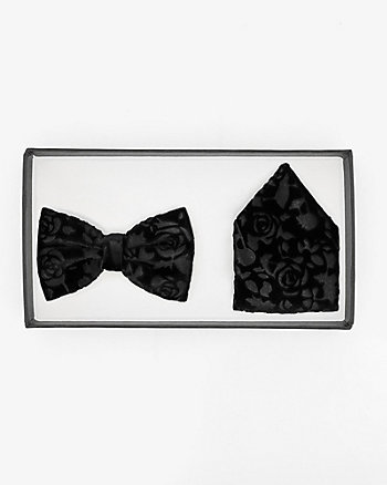 Velvet Bow Tie & Pocket Square Set