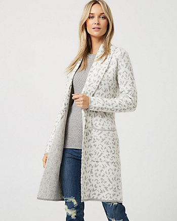Leopard Print Shawl Collar Sweater Coat