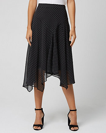 Polka Dot Print Chiffon Skirt