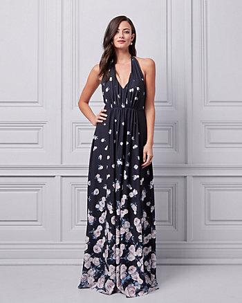 Floral Print Crêpe Halter V-Neck Gown