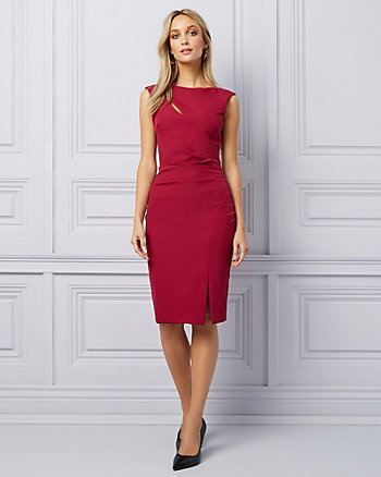 Double Weave Cutout Slit Cocktail Dress