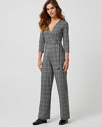 Jacquard Print Knit Wide Leg Jumpsuit