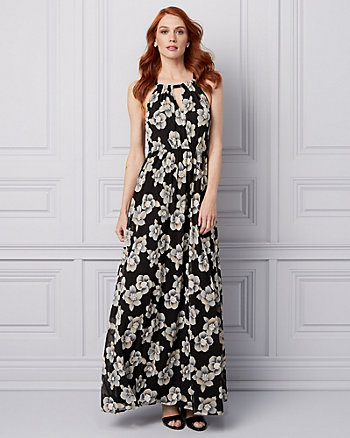 Robe longue à motif floral en maille filet