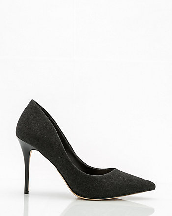 Glitter Pointy Toe Kitten Heel Pump