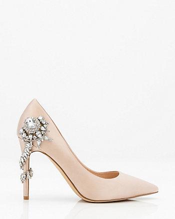 Jewel Embellished Pointy Toe Pump